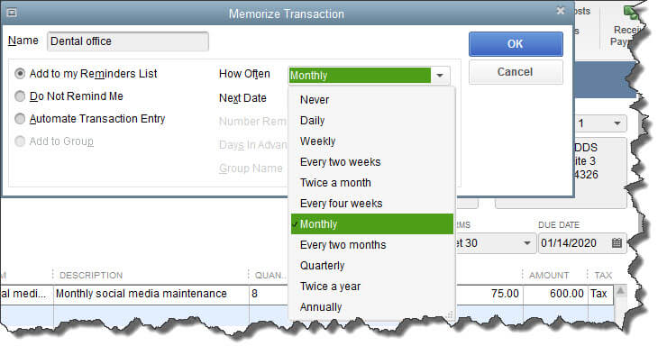 Memorizing Transactions In Quickbooks Why How